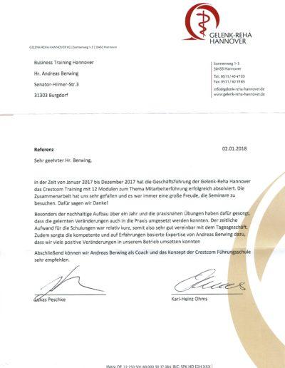 Gelenk-Reha Hannover KG über Businesstraining-Hannover