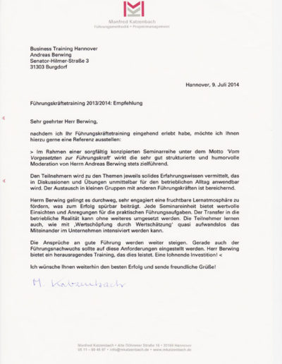 Manfred Katzenbach über Businesstraining-Hannover