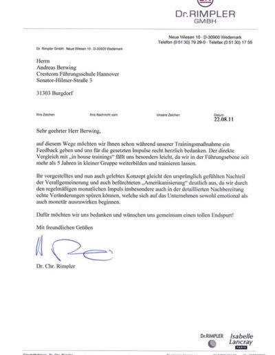 Referenz von Dr Rimpler GmbH