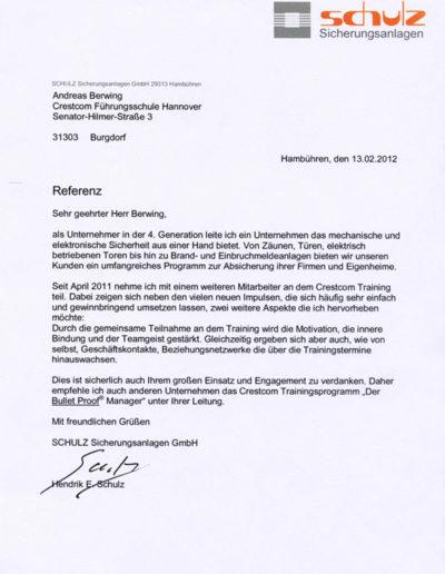 Schulz Sicherungsanlagen über Andreas Berwing