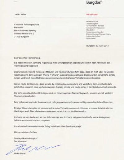Sparkasse Burgdorf über Businesstraining-Hannover