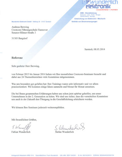 Wunderlich Elektronik über Businesstraining-Hannover