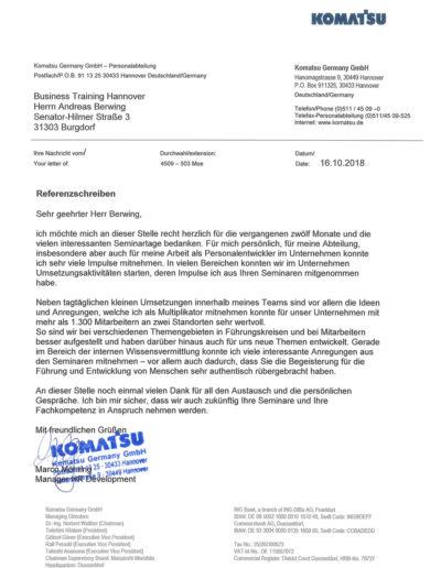 Komatsu Germany GmbH über Businesstraining-Hannover