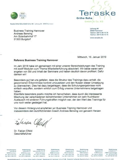 Teraske Ortho Reha GmbH & Co. KG über Andreas Berwing