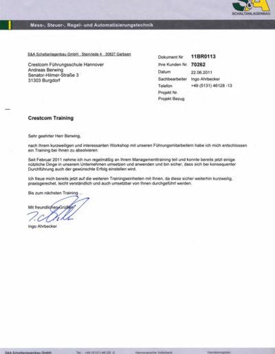 S&A Schaltanlagen über Businesstraining-Hannover